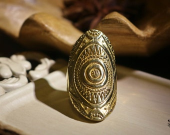 Röötz Spiral tribal Ring, Engraved ring Ring, Statement ring, Indian Ring, Bohemian Jewellery, Tribal Ring, Ethnic Jewellery, Brass Ring