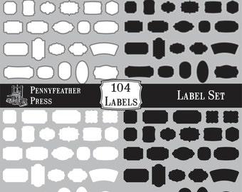 HUGE set of Black and White Labels Frames Borders Clipart Shapes