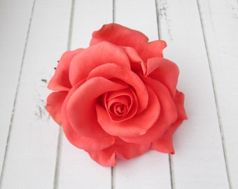 Coral Rose Hairpin - Red Flowers Hair Pin Decoration - Flowers hair accessories - Prom Hair Accessories Flowers - Formal Hair Accessories