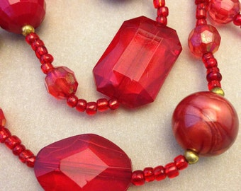 Vintage Red Faux Jewel Necklace