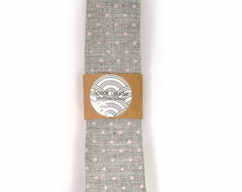 Wedding Mens Tie Skinny Necktie -  grey pink dots wool tie