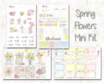 Spring Flowers - Planner Stickers, Mini Kit, Deluxe Kit, Weekly Sticker Kit. For ECLP, Happy Planner, Personal Planner