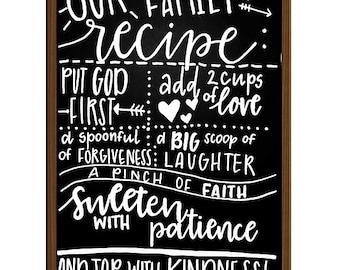 Family Recipe Chalkboard