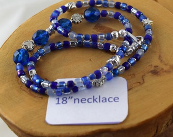 18 inch Shaded Sapphire blue crystal and seed bead choker necklace