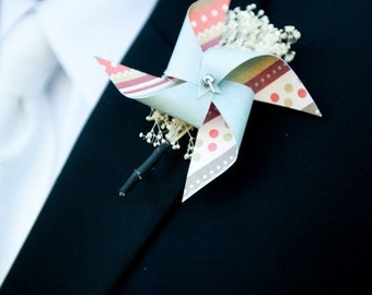 Wedding Boutonniere Mini Pinwheels Custom Made To Order