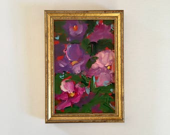 Purple Flower Painting - Small - Framed- Painting - Original- 5 x 7-1/2  approx. inch - including Frame - Fine Art -Custom Framed