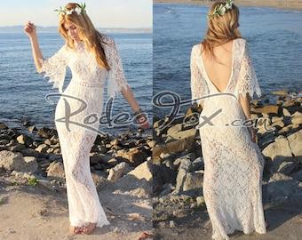 Boho Gypsy Festival Ivory Crochet Vintage Lace  backless Beach Wedding Dress