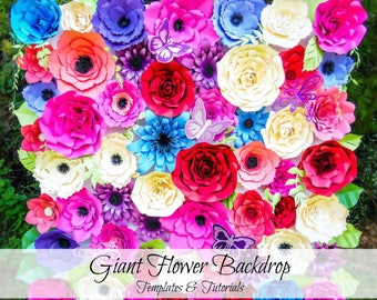 Giant Paper Flowers- Flower Backdrop- Paper flower templates and tutorials- Printable Flower Templates- Flower Wall