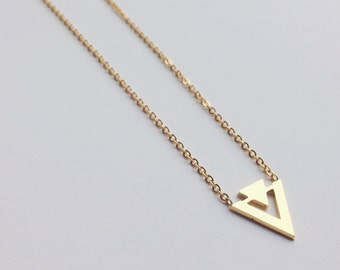 Gold triangle necklace, layer necklace, choker, minimalist necklace modern necklace, jewelry, minimalist, triangle jewelry, layer necklace