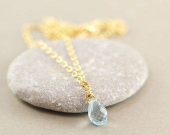 Blue Topaz Necklace, Minimalistic, Small Drop Necklace, December Birthstone, Gemstone Necklace