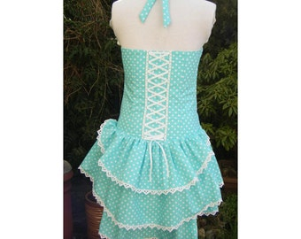 bustle dress in spearmint and white polka dot sweet lolita halterneck dress with corset laced back