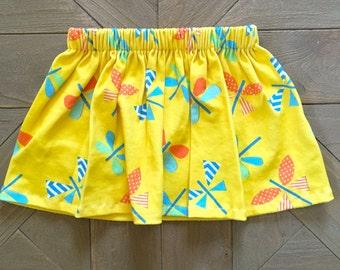 Summer Yellow Baby Girl Skirt - Organic Dragonfly Skirt. Baby Girl Shower Gift. Newborn - Toddler Skirt. Cotton baby skirt. Baby Girl Skirt.