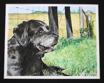 Custom Watercolor Dog Portrait - 5 x 7