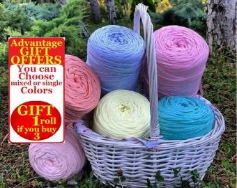 T shirt Yarn, 1 roll, 450 grams, 100 meters yarn, Recyled Fabryc yarn, home textile yarn, crochet yarn, basket yarn, fabric yarn, bag yarn