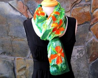 Nuno felt scarf: Small orange flowers on green dyed silk