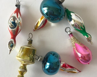 Vintage Mavi Mexico Blown Glass Feather Tree Christmas Ornaments Set of 6
