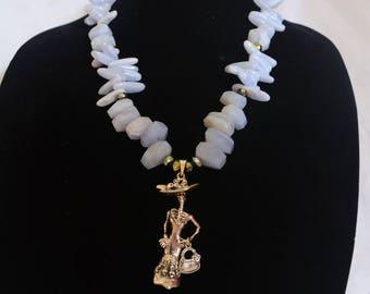 Dia de Muertos - sterling silver Dia de Muertos figurine and agate bead necklace