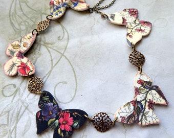 Vintage Flower Butterfly Necklace, Flower Necklace, Butterfly Necklace, Boho Necklace, Vintage Style Necklace, Shrink Plastic Necklace