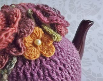 Plum Crochet Tea Cozy, Frosted Plum Tea Cozy, Vintage Floral Crochet Tea Cozy, Teapot Cozy, Crochet Tea Cozy, Autumn Tea Cozy, 3 Cup Cozy