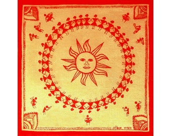 Warli Sun Art Print, Matte Paper Poster, UNFRAMED Indian Tribal Painting, Primitive Painting Gold Painting, Folk Art Painting Fine Art Print