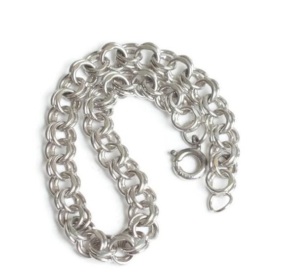Sterling Silver Double Curb Link Charm Bracelet Starter Bracelet
