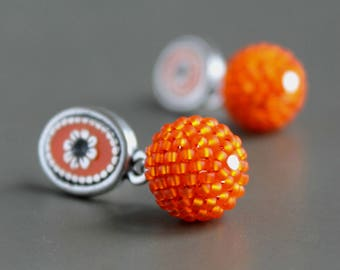 Orange stud earrings, Orange drop earrings, Stud zamak earrings, Long post earrings, Stud big earrings, Drop earrings post,  Zamak earrings