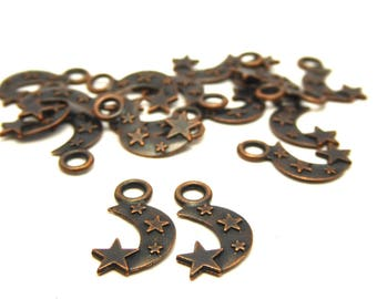 Moon Star 1.9 cm copper plated 20 charms