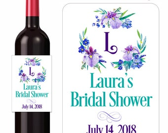 Custom Wedding Wine Labels Iris Bouquet Bridal Shower Labels Personalized Vinyl Waterproof Stickers