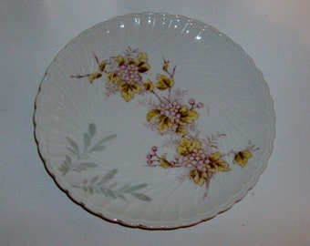 Lavender, Olive and Gray Floral Plate