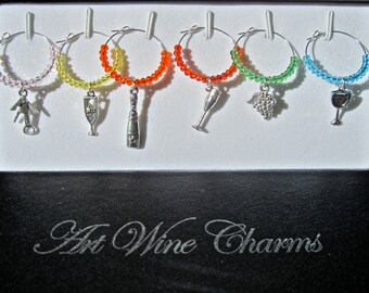 Colorful Wine Charms, Crystal Wine Charms, Wine Theme Gift, Wine Charm Set, Gift for Wine Lover, Hostess Gift, Gift Under 20  1106W