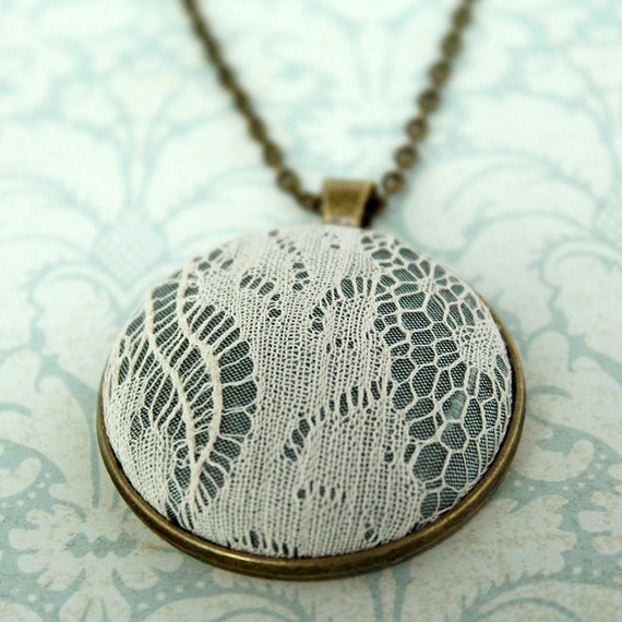 Custom Lace Necklace / Mother's Day Gift / Mother's Day Gift from Husband / Grandma Mothers Day / Memory Pendant / Keepsake Necklace /