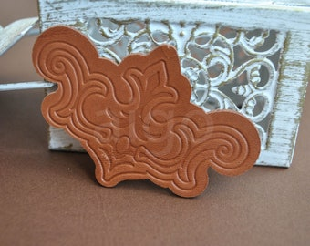 Leather Victorian applique diecut | embossed leather Victorian | Victorian diecut shape | large leather Victorian shape | Victorian patches