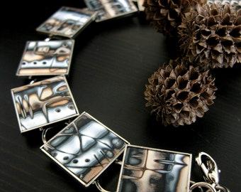Polymer Clay Bracelet - Galactic Dust, Mokume Gane, Modern Bracelet, Copper and Gray, Square Bracelet