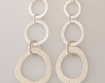 Textured Sterling Silver 3 Circle Earrings