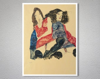 Two Girls by Egon Schiele Fine Art Print - Poster Paper, Sticker or Canvas Print / Gift Idea