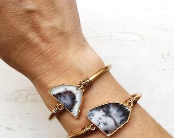 Dendrite Opal Manschette, verstellbare Manschette, Edelstein gold Armband, Boho Gypsy Nomad Schmuck, Geschenk für sie