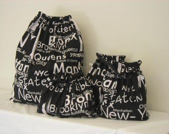 REDUCED! New York Print Set of 4 Cotton Travel Bags, Laundry Bag, Lingerie Bag, Utility Bag, Shoe Bag or Sock Bag.