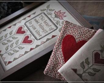 Fraktur Love / Primitive cross stitch pattern
