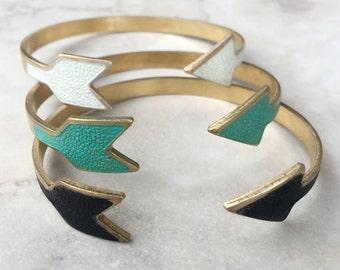 Arrow Cuff | Hand Painted Enamel | Adjustable Bracelet | Boho Bracelet | White | Patina | Black