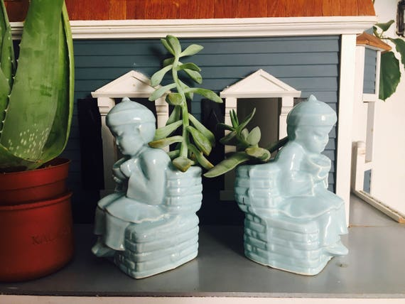 Vintage Baby Blue Ceramic Planters - Matching Light Blue Indoor Ceramic Planters - 1950s Small Boy Kitsch Succulent Planters or Vase