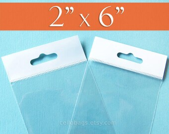 500 2 x 6 Inch HANG TOP Clear Resealable Cello Bags Packaging for Hanging on Display or Peg