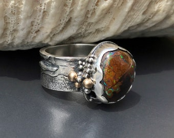 Kroit Boulder Opal Ring, Brown Stone with Green Flash, Beach Theme Unique Hand Fabricated Sterling Silver and 14K Gold, Size 6 3/4