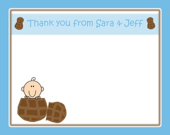 20 Personalizaed Thank You Cards  Blue Little Peanut