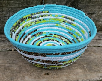 Spring Teal Fabric Coiled Basket