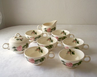 vintage pink rose coffee cup - granny chic - creamer and sugar bowl - set of six