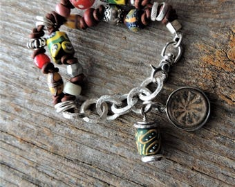 African Trade Bead Bracelet, Leather Two Strand Bracelet, Rustic Handcrafted, Artisan Jewelry, Vintage Beads, Handmade Silver Chain, Tribal