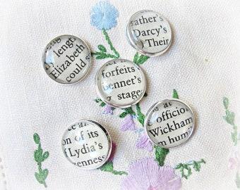 Jane Austen Shank Buttons Craft Supplies - Pride and Prejudice Mr Darcy Bookish Bookworm Gift - DIY Silver Round Handmade Sewing Ephemera