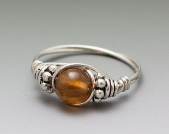 Hessonite Gomed Garnet Bali Sterling Silver Wire Wrapped Gemstone Bead Ring - Made to Order, Ships Fast!