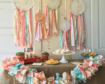 "Dream Catcher, Coral and mint dreamcatcher 12"" handmade Party Decoration. CUSTOM colors TOO"