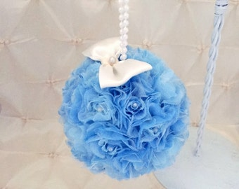 "Flower Ball, Wedding Pomander, Blue Flower Girl, Bridesmaid Flowers, Pew Decoration, Free Hair Pin, 5"" Rose Kissing Ball, READY TO SHIP"